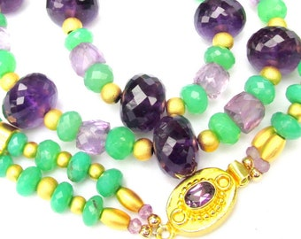 Chrysoprase, Amethyst & 22k Gold Vermeil 2 strand Necklace - Natural Gemstone Handmade Jewelry