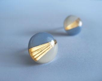 Blue Gray White & 23k Gold Round Stud Earrings - Hypoallergenic Titanium Posts