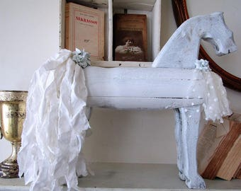 White carved wood horse statue primitive style embellished muslin tail w/ barely blue flowers shabby farmhouse home decor anita spero design