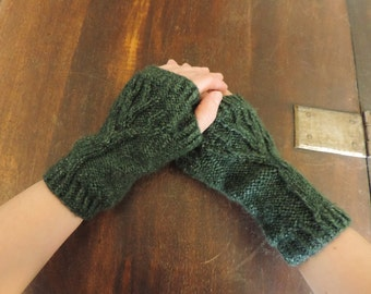 Hand Knit Wrist-Warmers, Arm Warmers, Fingerless Mitts with Tree Pattern – 7.25in, 18cm - Many Colours Available - Made to Order