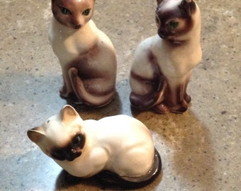 Vintage Siamese Kitten Cat Salt and Pepper Shakers Label