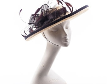ivory and chocolate brown boater hat