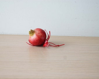 Tiny pomegranate sculpture, small ceramic pomegranate, red ceramic pomegranate with plaid ribbon, good luck pomegranate, Greek pomegranate