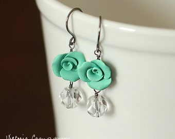 Aqua Rose Earrings, Vintage Glass, Sterling Silver, Seafoam Mermaid Green, Clay Roses - Ready to Ship