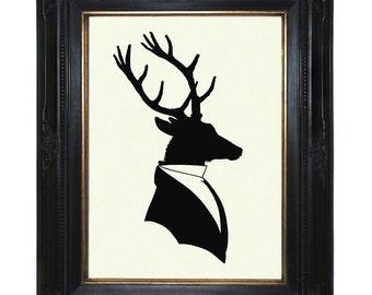 Silhouette Deer Stag Art Print Gentleman Antlers - Victorian Steampunk Art Print Shadow Cut