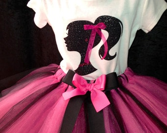 Barbie Tutu Set Pink Black White Sparkle Glitter Rhinestones Great for Tutus, Birthdays, Photo Props, Parties and Special Events