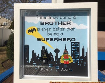 Customizable Batman and Robin Lego Shadowbox Frame. personalizable- birthday- godfather- big brother gift -husband- dad -groomsman