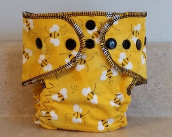 Fitted Preemie Newborn Cloth Diaper- 4 to 9 pounds- Bumble Bees on Yellow- 16004