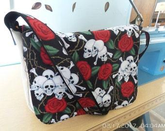 Messenger bag,canvas bag,skull and roses messenger bag.