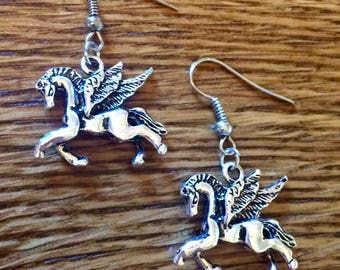"""Pegasus Flying Winged Horse 3D 2 Sided Antique Silver Tone Dangle Earrings 1.62"""" Long"""