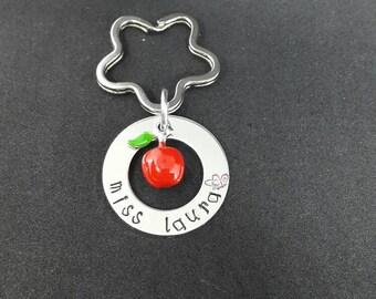 Teacher gift / teachers keyring/ apple charm/ personalised keyring / teacher Xmas gift / Xmas  present.  / gift for teacher