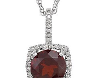 Garnet & Diamond Halo Necklace - Sterling Silver