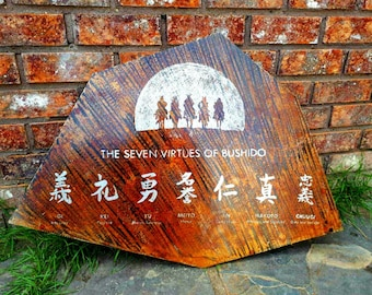 Bushido Code | Wall Art | Samurai |Metal Wall Decor | Samurai Art |Handmade | Bushido |Japanese | Spirit Of Budo |Engraved | Meaningful Gift
