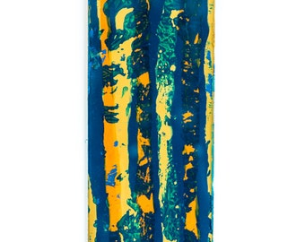 Blue and Gold Abstract, Wall hanging 4 x 18""