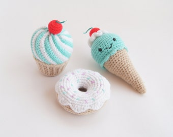 Mint Cherry Crochet Cupcake - Amigurumi- Play Food - Teething Toy - Learning toy - Baby gift - Pretend Play - Crochet Toy