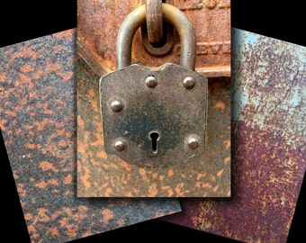 Rusty Metal Background Images | Antique Lock Clip Art Photo | Stock Photo Texture | Steampunk Decor | Small Business Commercial Use | Rust01