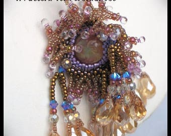 Bead Tutorial Sea Form Tassel Pendant advanced peyote stitch with fringe pattern instructions by Hannah Rosner