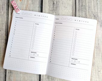 DAILY DOCKET Traveler's Notebook Insert   - Choice of 22 colors and 8 sizes
