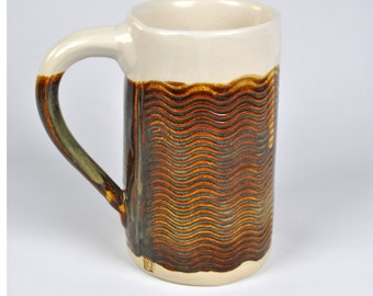 Ceramic Pottery Coffee Mug, Tea Mug, Coffee Cup, Handmade,  Hand Stamped