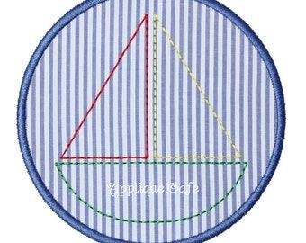 1007 Sailboat Patch 2 Machine Embroidery Applique Design