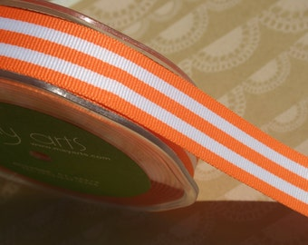 "Orange Grosgrain Trim - Horizontal Stripes Ribbon - May Arts Ribbons - 7/8"" Wide - 3 Yards - DESTASH SALE"