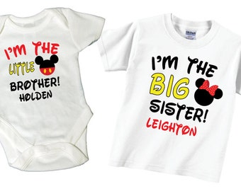 Big Sister, Little Brother Shirts with Red and Black Lettering Tshirt and Bodysuit Sibling Set