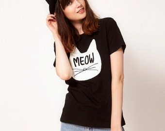 MEAOW KITTY T-shirt , / Premium Quality ! - Made in London / Fast Delivery to the Usa , Canada , Australia & Europe !