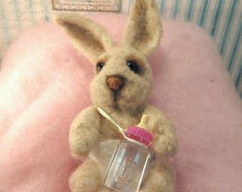 Sweet baby bottle bunny needle felted