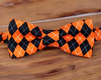 Boys Bow Tie - Orange and Black cotton diamond argyle print bowtie, baby, toddler, child bow tie | Halloween bow tie | adjustable bow tie