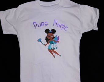 Pure Magic Girls Fairy Shirt, Black, African American, Afro Puffs