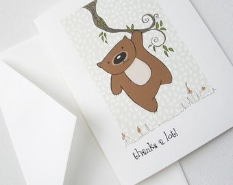 Thank you card, custom card Wom on a Vine