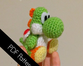 Yoshi-inspired amigurumi PDF WRITTEN PATTERN (digital item)