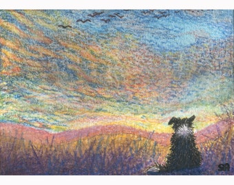 In the colour of evening Border Collie dog signed print sunset in the colour of evening from a Susan Alison watercolor painting