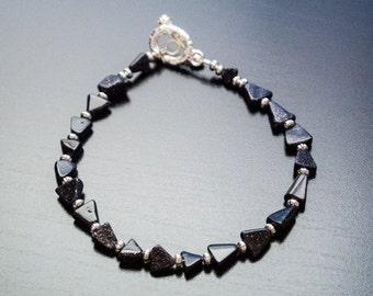 Starry Night Bracelet - Gemstones, Semiprecious, Love, Anniversary, Gift For Her, Triangle, Black Beads, Dark Jewelry, Silver Jewelry