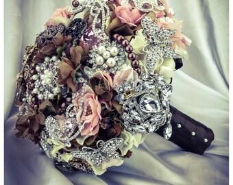 Chocolate Blush Ivory Vintage Elegant Bridal Swarovski Bling Crystal Diamond Rhinestone keepsake broach bouquet.  FULL PRICE