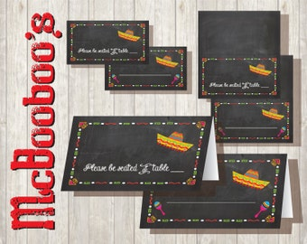 Chalkboard Mexican Fiesta Tent cards Name or Food Table Number  INSTANT DOWNLOAD