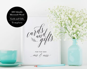 Cards and Gifts Sign, Downloadable wedding, Gift Table Sign, Wedding Sign, Wedding Reception, Wedding Sign Printable,  MSW67