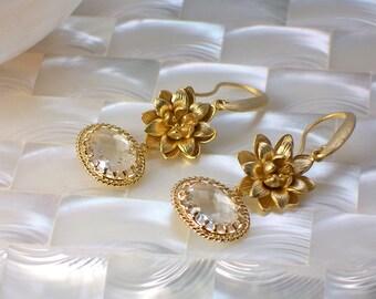 Dangle Earrings, Matte Gold Earrings, Floral Jewelry, Floral Drop earrings, Bridal Jewelry, Gift for Her, Fashion earrings, Jewellery