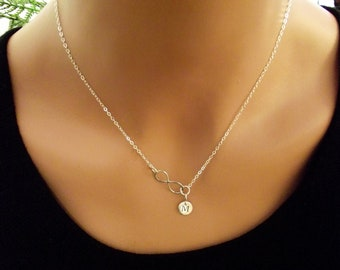 Infinity Love Necklace - one(1) Initial  Personal Initial,  Eternity Circle, Infinity Link, in Sterling Silver -