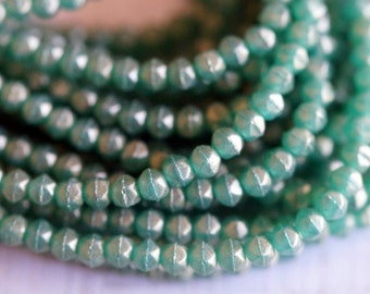 3mm English Cut Beads - Atlantis Green Gold Luster Beads - Czech Glass Beads - Bead Soup Beads