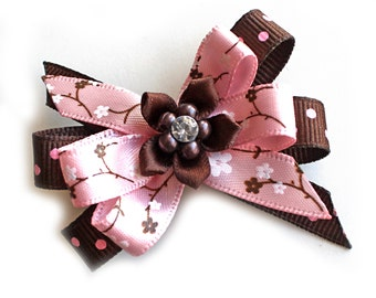Stacked Hair Bows. Hair Clips With Non-Slip Grips. Girls Hairclips Set of 2. Toddlers Hairclips. Pink and Brown With Pink Dots Ribbon Bows