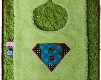 Bavoir bleu et vert anis logo Super Bébé
