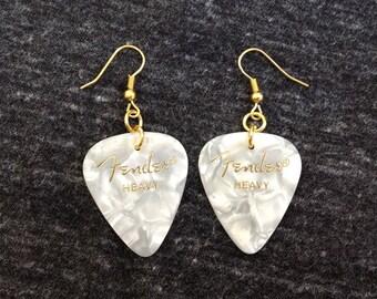 Fender White Guitar Pick Earrings