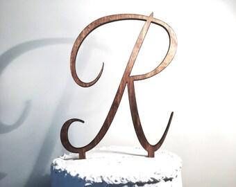 Wooden Wedding Cake Topper: Letter R, Monogram Cake Topper, Rustic Cake Topper, Handmade Cake Topper