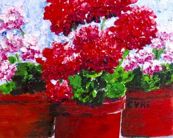 Geraniums Original Oil Painting-Oil 8 x 8 -Canvas-Home Decor-Gift-Wedding Gift-Impasto-Cottage-Impasto-Clay Pots-Floral painting