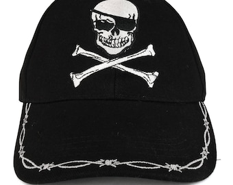 Pirate Skull Crossbone Barbwire Embroidered Structured Army Baseball Cap (EE-CP00805)