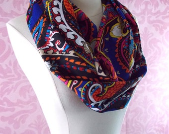 Colorful scarf - paisley infinity scarf - paisley scarf