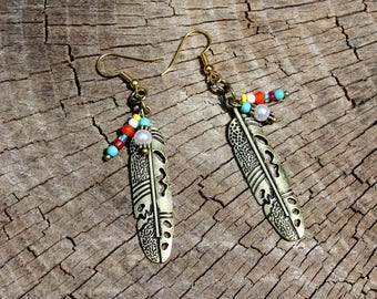 Gold Feather Earrings - Beaded Feather Drops - Tribal Earrings - Tribal Feathers - Beaded Earrings - Feather Dangles - Two Feathers Jewelry