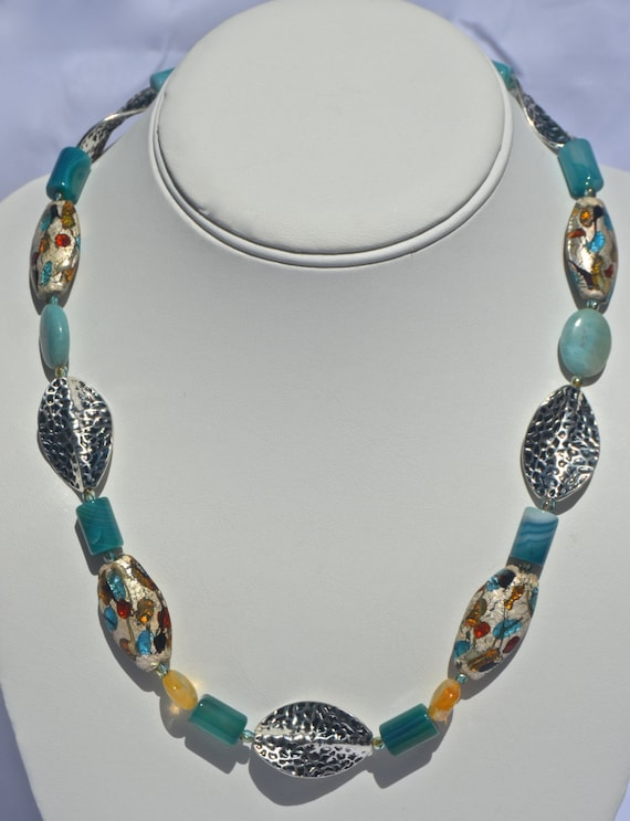 "18"" Teal Agate and Citrine Necklace"