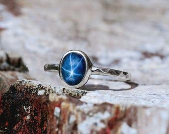 Blue Star Sapphire White Gold Ring, Engagement Ring, Blue Gemstone Ring, Unique Ring, Promise Ring, Blue Sapphire Stone September Birthstone